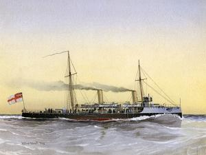 HMS Speedwell, Royal Navy Torpedo Gunboat, 1892 by William Frederick Mitchell