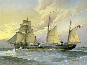 HMS Thrush, British 1st Class Gunboat, C1890-C1893 by William Frederick Mitchell