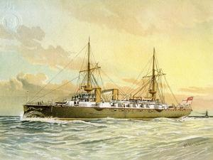 HMS Undaunted, Royal Navy 1st Class Cruiser, C1890-C1893 by William Frederick Mitchell