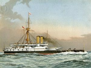 HMS Victoria, Royal Navy 1st Class Battleship, C1890-C1893 by William Frederick Mitchell