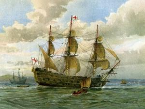 Royal Navy Battle Ship, C1650 by William Frederick Mitchell
