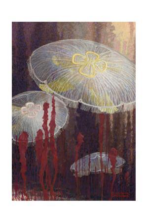 Painting of Three Aurelia Aurita Jellyfish of the Variety Flavidula by William H. Crowder