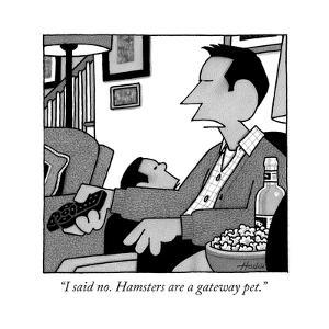 """""""I said no. Hamsters are a gateway pet.""""  - New Yorker Cartoon by William Haefeli"""