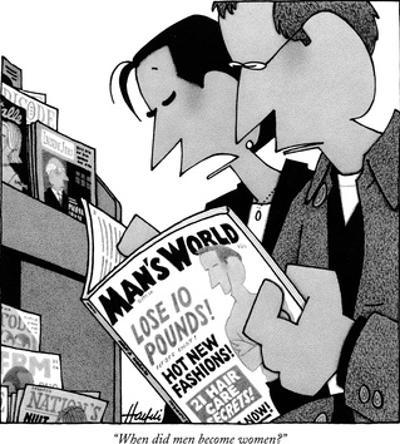 """When did men become women?"" - New Yorker Cartoon by William Haefeli"