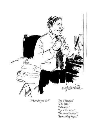"""What do you do?""      ""I'm a lawyer.""""The law.""""I do law.""""I practice ?"" - New Yorker Cartoon"