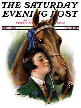 """""""Blue Ribbon Winner,"""" Saturday Evening Post Cover, March 19, 1927 by William Haskell Coffin"""