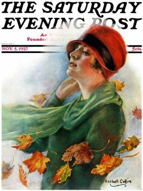 """""""Fall Leaves,"""" Saturday Evening Post Cover, November 5, 1927 by William Haskell Coffin"""