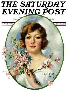 """""""Woman and Dogwood,"""" Saturday Evening Post Cover, May 1, 1926 by William Haskell Coffin"""