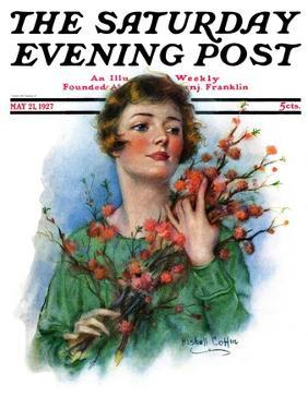 """""""Woman and Flowering Twigs,"""" Saturday Evening Post Cover, May 21, 1927 by William Haskell Coffin"""