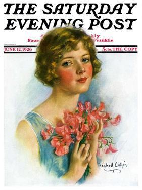 """""""Woman and Flowers,"""" Saturday Evening Post Cover, June 12, 1926 by William Haskell Coffin"""