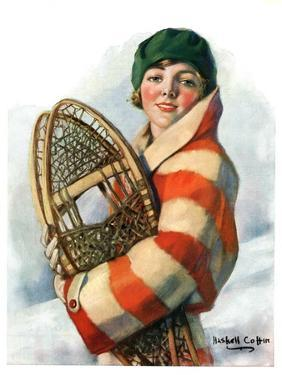 """""""Woman and Snowshoes,""""January 26, 1929 by William Haskell Coffin"""