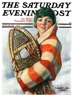 """""""Woman and Snowshoes,"""" Saturday Evening Post Cover, January 26, 1929 by William Haskell Coffin"""