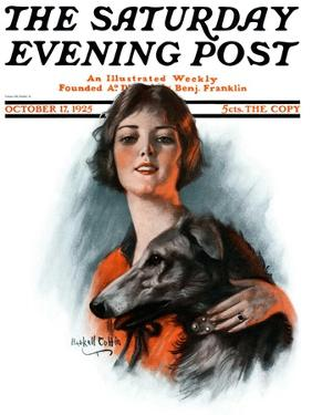 """""""Woman and Wolfhound,"""" Saturday Evening Post Cover, October 17, 1925 by William Haskell Coffin"""