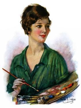 """""""Woman Artist and Her Palette,""""April 28, 1928 by William Haskell Coffin"""