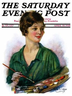 """""""Woman Artist and Her Palette,"""" Saturday Evening Post Cover, April 28, 1928 by William Haskell Coffin"""