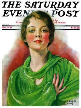 """""""Woman in Green,"""" Saturday Evening Post Cover, March 23, 1929 by William Haskell Coffin"""