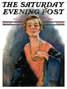 """""""Woman Wearing Beaded Necklace,"""" Saturday Evening Post Cover, February 26, 1927 by William Haskell Coffin"""