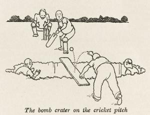 Bomb Crater, Cricket Pitch by William Heath Robinson