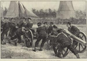 Limber Up! Bluejackets at Field-Gun Drill at the Royal Naval Exhibition by William Heysham Overend