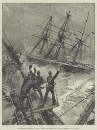 The Disastrous Hurricane in Samoa, Crew of the American Ship Trenton Cheering HMS Calliope