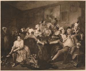 'A Rake's Progress - 3: The The Orgy', 1733 by William Hogarth