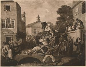 'Chairing the Members', Plate IV from 'The Humours of an Election', 1757 by William Hogarth