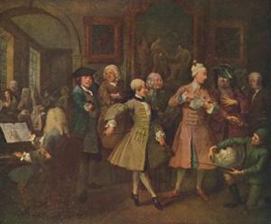 'The Rake's Progress - The Levee', 1720-1735, (1920) by William Hogarth