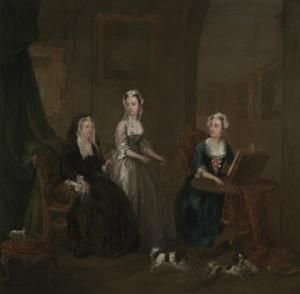 Three Ladies in a Grand Interior ('The Broken Fan'), possibly Catherine Darnley by William Hogarth