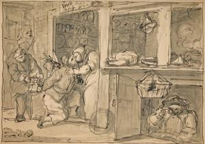 Unused drawing for 'Industry and Idleness', 1747 by William Hogarth