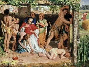 A Converted British Family Sheltering a Christian Missionary from the Persecution of the Druids by William Holman Hunt