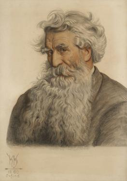 Portrait of Thomas Combe, Printer to the University (1796-1872) (Red and Black Chalk) by William Holman Hunt