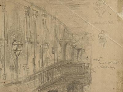 Recto: Study of London Bridge for 'London Bridge on the Night of the Marriage of the Prince and Pri by William Holman Hunt