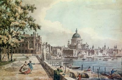 Part of a Drawing by Canaletto, of St. Paul's Cathedral, the Terrace of Somerset House