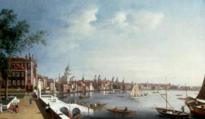 View of the Thames looking towards St Paul's Cathedral from the Gardens of Somerset House