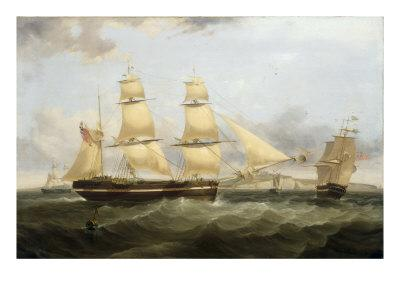 A Barque in Two Positions and Other Shipping off the Coast at Dover