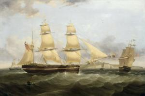 A Barque in Two Positions and Other Shipping off the Coast at Dover by William John Huggins