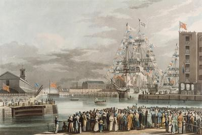 St. Katherine's Dock: Opening on 25th October 1828, Engraved by E. Duncan (Coloured Aquatint)