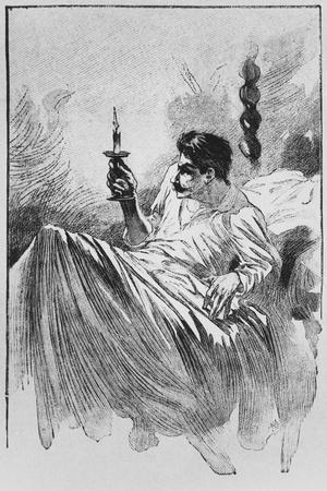 The Narrator in Bed, Illustration from 'Le Horla' by Guy De Maupassant