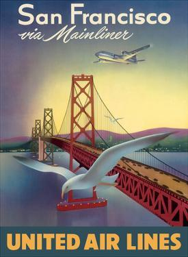 San Francisco via Mainliner - United Air Lines - San Francisco–Oakland Bay Bridge by William Lawson