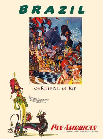 Brazil - Carnival in Rio - Pan American World Airways by William Linzee Prescott