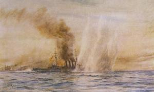 "At the Battle of Jutland Hms ""Southampton"" Sails Under Fire from the German Fleet by William Lionel Wyllie"