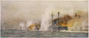 "British Ships ""Defence"" and ""Warrior"" in Action at the Battle of Jutland by William Lionel Wyllie"