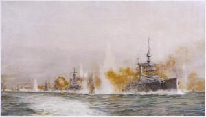"Hms ""Lion"" Leads the Battle- Cruisers into the Fray at the Battle of Jutland by William Lionel Wyllie"