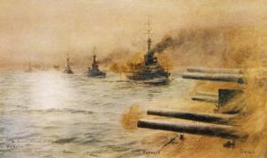 The British Second Division of Battleships Fire on the Germans at the Battle of Jutland by William Lionel Wyllie