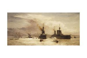 The First Battle Squadron Leaving the Forth for the Battle of Jutland, 1917 by William Lionel Wyllie