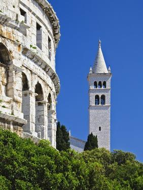 Roman Amphitheater and Church Bell Tower in Pula by William Manning