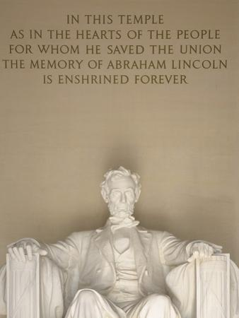Statue and Inscription at Lincoln Memorial by William Manning