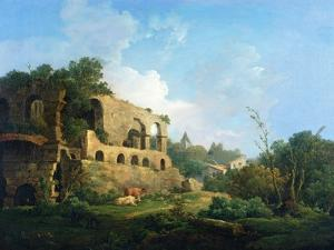 Italianate Landscape with a House Near Classical Ruins by William Marlow