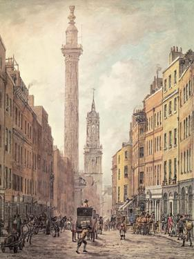 View of Fish Street Hill, Monument and St. Magnus the Martyr from Gracechurch Street, London, 1795 by William Marlow