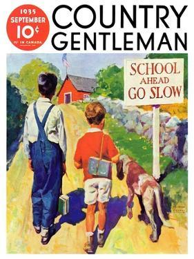 """""""Back to School,"""" Country Gentleman Cover, September 1, 1935 by William Meade Prince"""